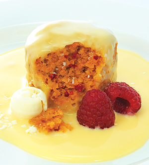 Self Saucing - White Chocolate & Raspberry Pudding